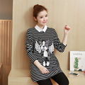 Flying Dog lapel cotton long-sleeved long section of the Spring and Autumn Korean pregnant women T-shirt