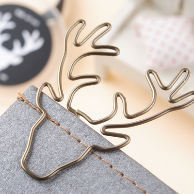 Vintage Deer Clip Bookmark Plus Size Pin Stationery Gold Deer Paper Clips