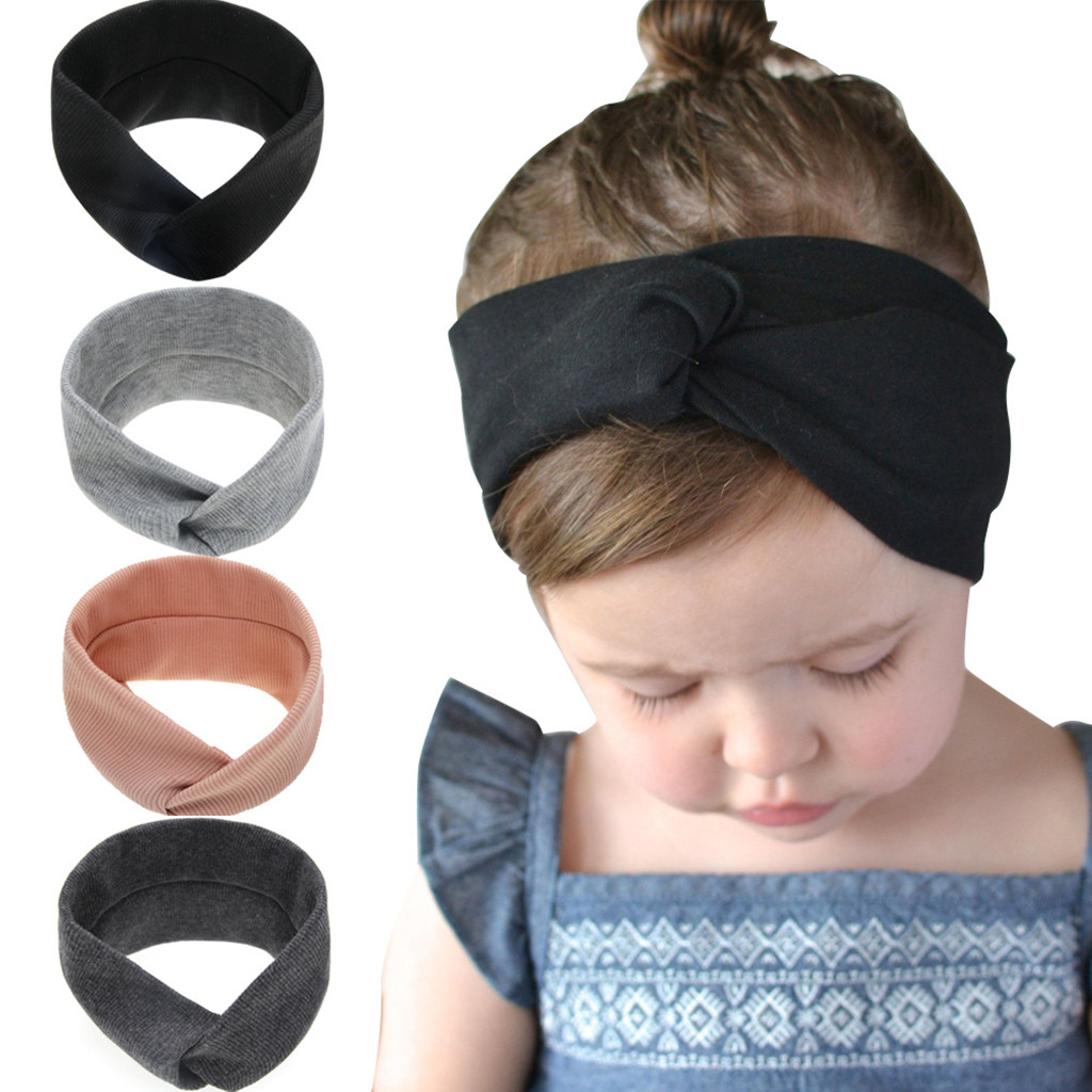New Baby Kids Girls Solid Knot Turban Headband  Rabbit Ears Elastic Head Wraps Sweet Color Headwear For Girl Hair Accessories@30