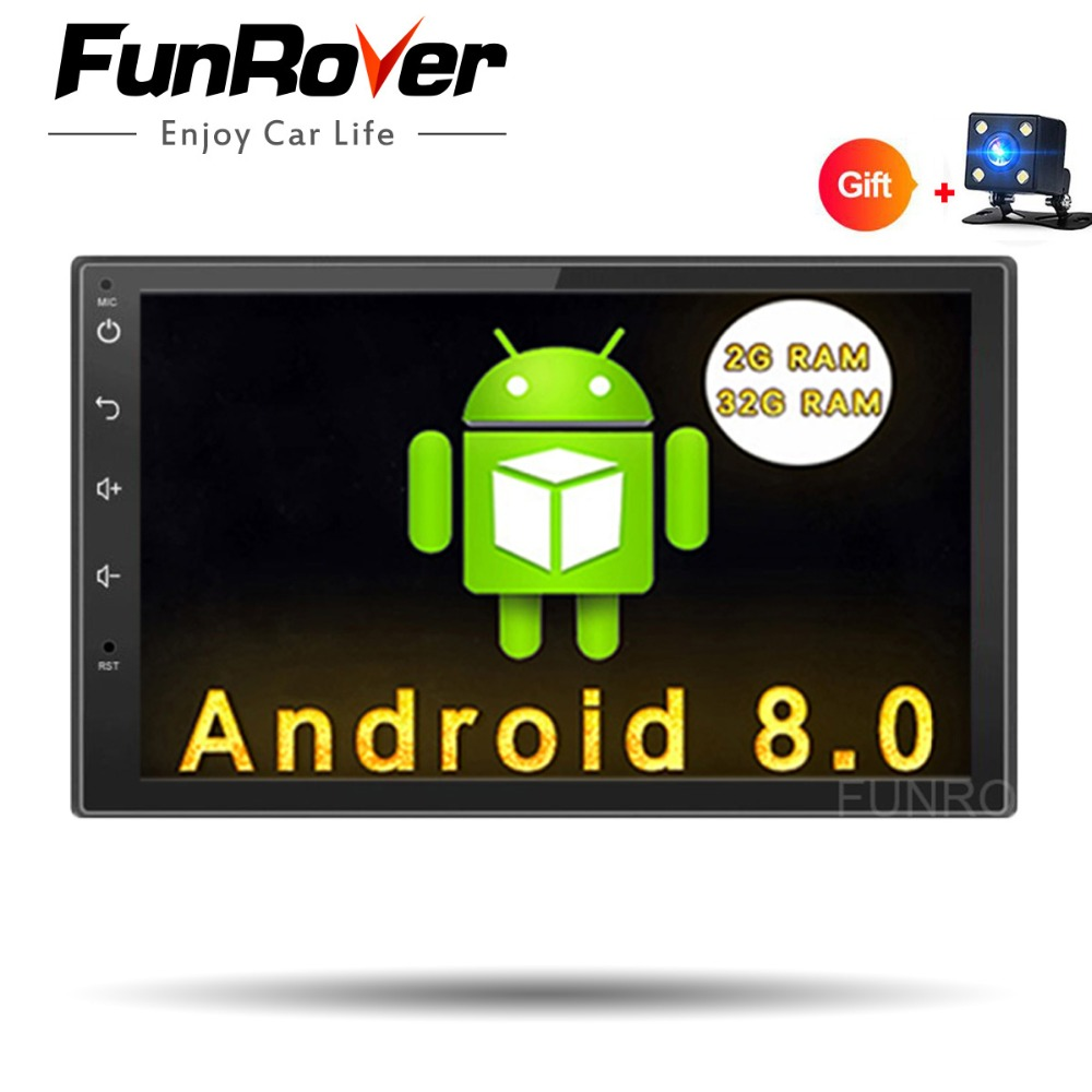 Funrover Android 8.0 2 din Car DVD player 2din GPS Bluetooth stereo In dash Radio 7 inch Universal wifi tape recorder usb no dvd