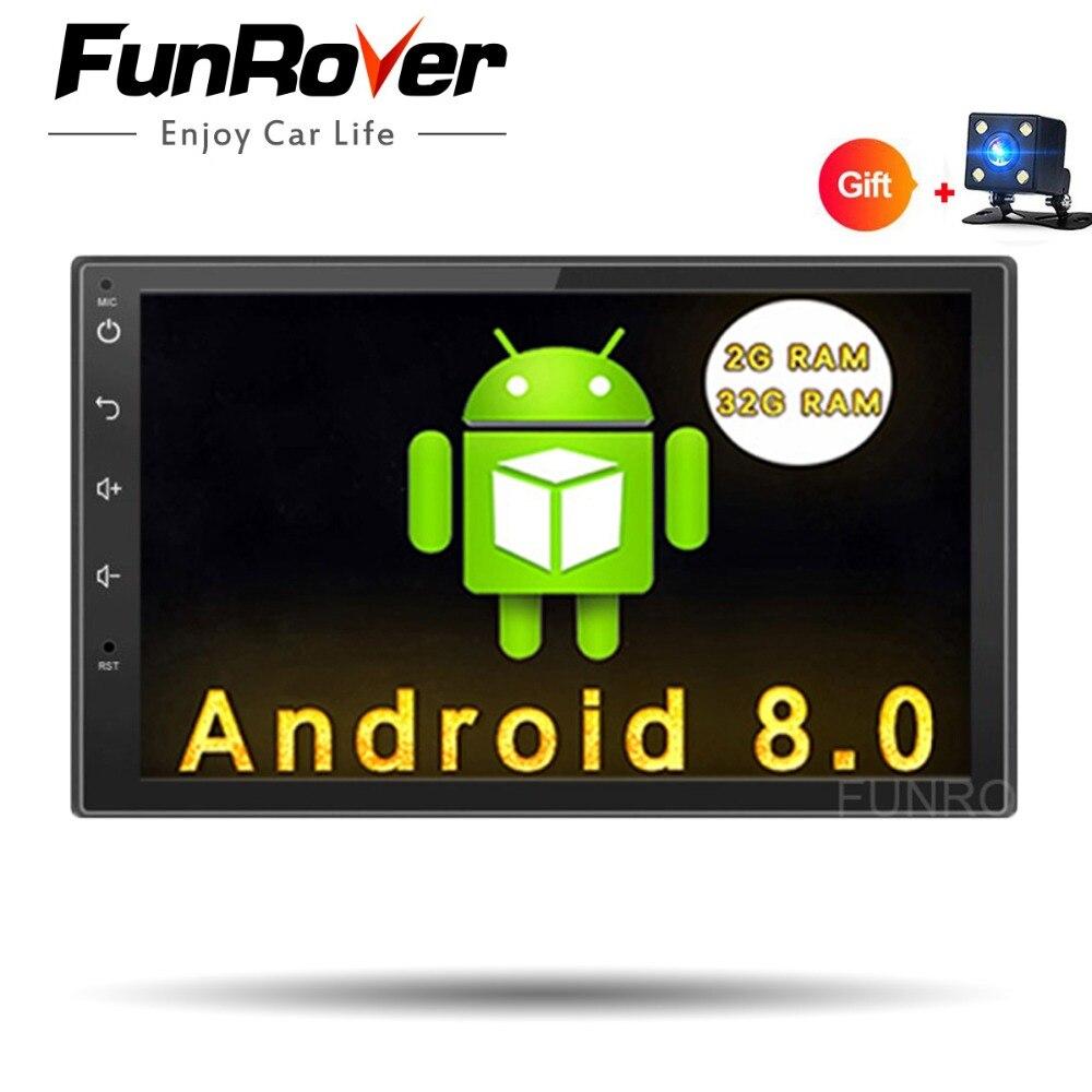 Funrover Android 8,0 2 din DVD плеер автомобиля 2din gps Bluetooth стерео в тире радио дюймов 7 дюймов Универсальный Wi Fi клейкие ленты регистраторы usb без dvd
