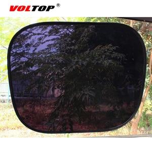Image 2 - 2 個自動カーテンサイドウィンドウ日よけ UV 保護車のサンバイザー Windowshield 黒シールド日焼けサイドリアカバーメッシュキャップ
