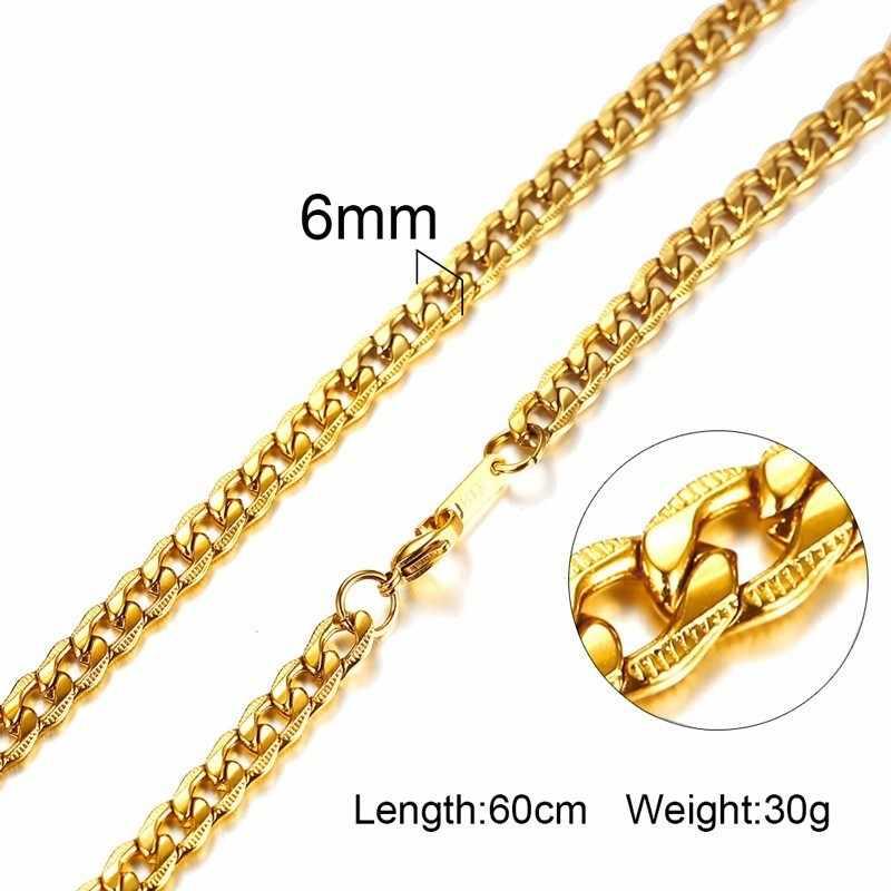 3-6MM Männer Halskette Gold-Ton Snake Kette Miami Kuba Link mit Runde Box und Weizen Ketten Edelstahl stahl Halsband Schmuck 24-27in