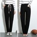 Осень и зима новый женская мода досуг Свободные Эластичный пояс большой размер сплошной цвет Троса Харлан брюки