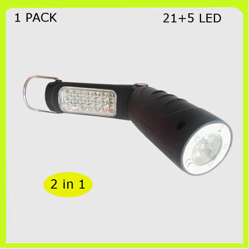 Free shipping 2 in 1 21+5 LED torch foldable LED work lamp flash light 3*AA battery inspection light car roadside garage used
