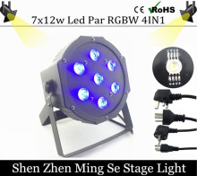 Fast shipping 7x12w led Par lights  RGBW 4in1 flat par led dmx512  disco lights professional stage dj equipment