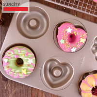 6Cups Nonstick Metal Doughnut Maker Cutter Mold 3D Stencils Forms For Cupcakes Bread Biscuit Pan Pudding