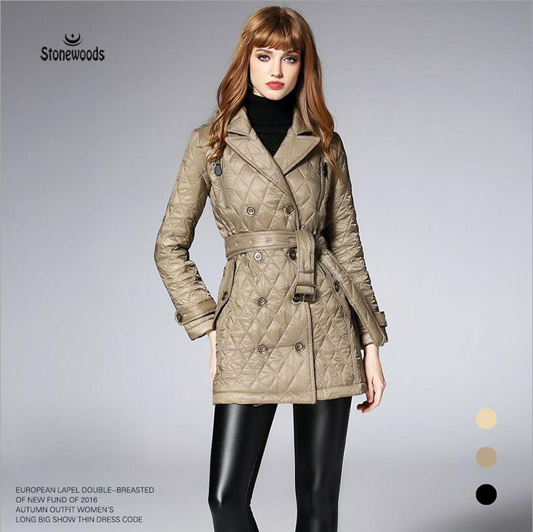 Winter Trench Coat For Women Basic Coats Womens Double Breasted Coat Womens Quilted Coat Cotton-padded Clothes Ukraine ellen tracy outerwear women s double breasted classic trench coat