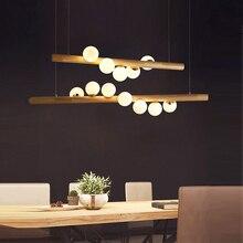 ウッドホワイトガラスボールledペンダントライトダイニングルームhanglamp G4 電球コーヒーショップバーペンダントランプホーム照明器具北欧ランプ