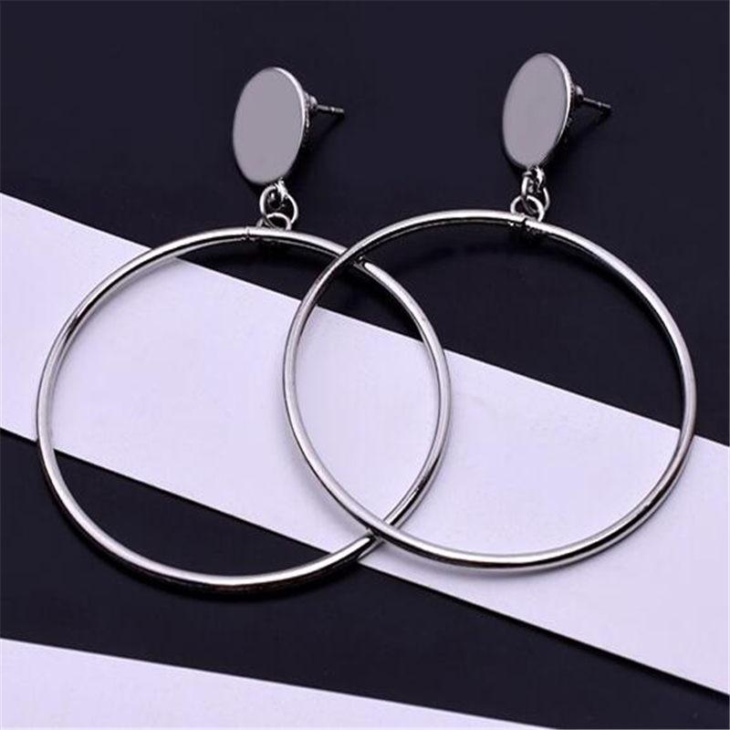 Простые модные геометрические большие круглые серьги золотого цвета с серебряным покрытием для женщин, модные большие полые висячие серьги, ювелирные изделия - Окраска металла: e0336silver