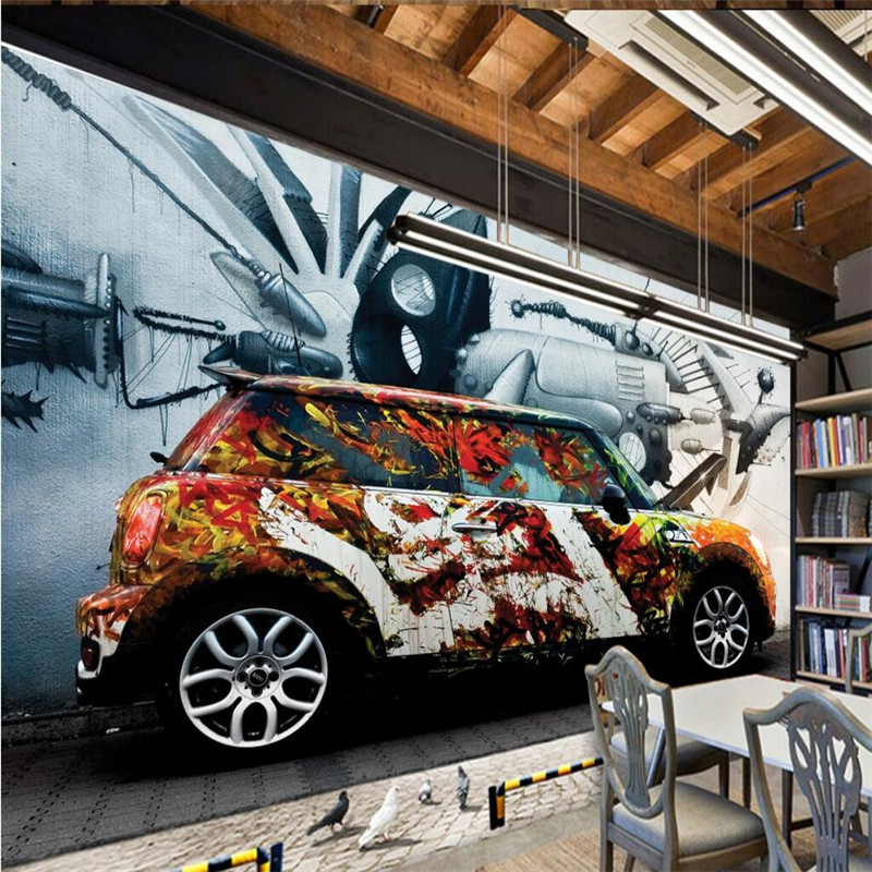 Customize Size Mural Wallpaper Background Car Graffiti Old Wall Art Restaurant Home Decor Wall Covering Living Room Painting