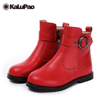 Kalupao black genuine leather boots girl short snow boots girls velvet lining red flat winter fur rubber boots kids girls