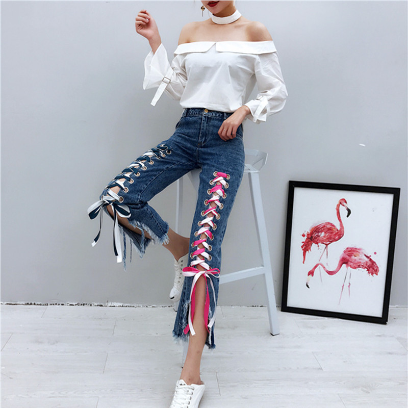 whitney wang 2017 spring fashion streetwear multicolor ribbon lacing up jeans women denim flare