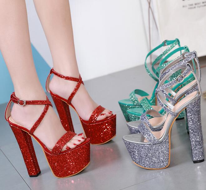 Carole Levy Runway Glitter Embellished High Heel Shoes Summer Open Toe Platform Thick Heels Sandal Cutouts Wedding Shoes Red