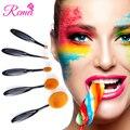 Kits de maquillaje Cepillo Conjunto Cosméticos Maquillaje Cepillo de Base Ovalada 5 UNIDS Por Juego Negro Cepillo de Dientes Suave Forma Oval