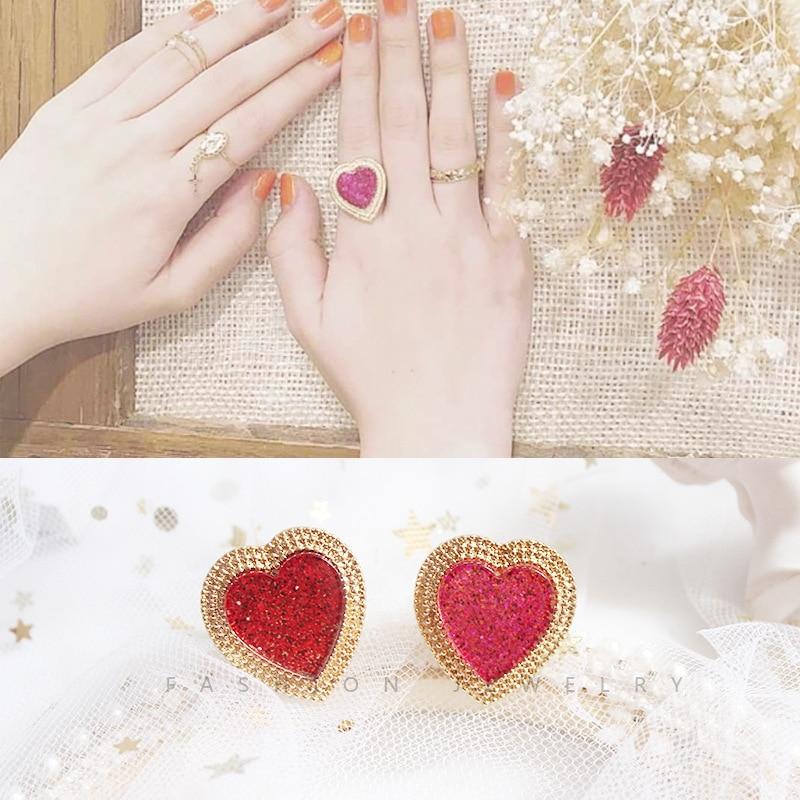 Japanese Cute Gold Color Shinny Bling Purple Red Love Heart Adjustable Finger Rings For Women Girls Party Gift Diameter 16.5 mm