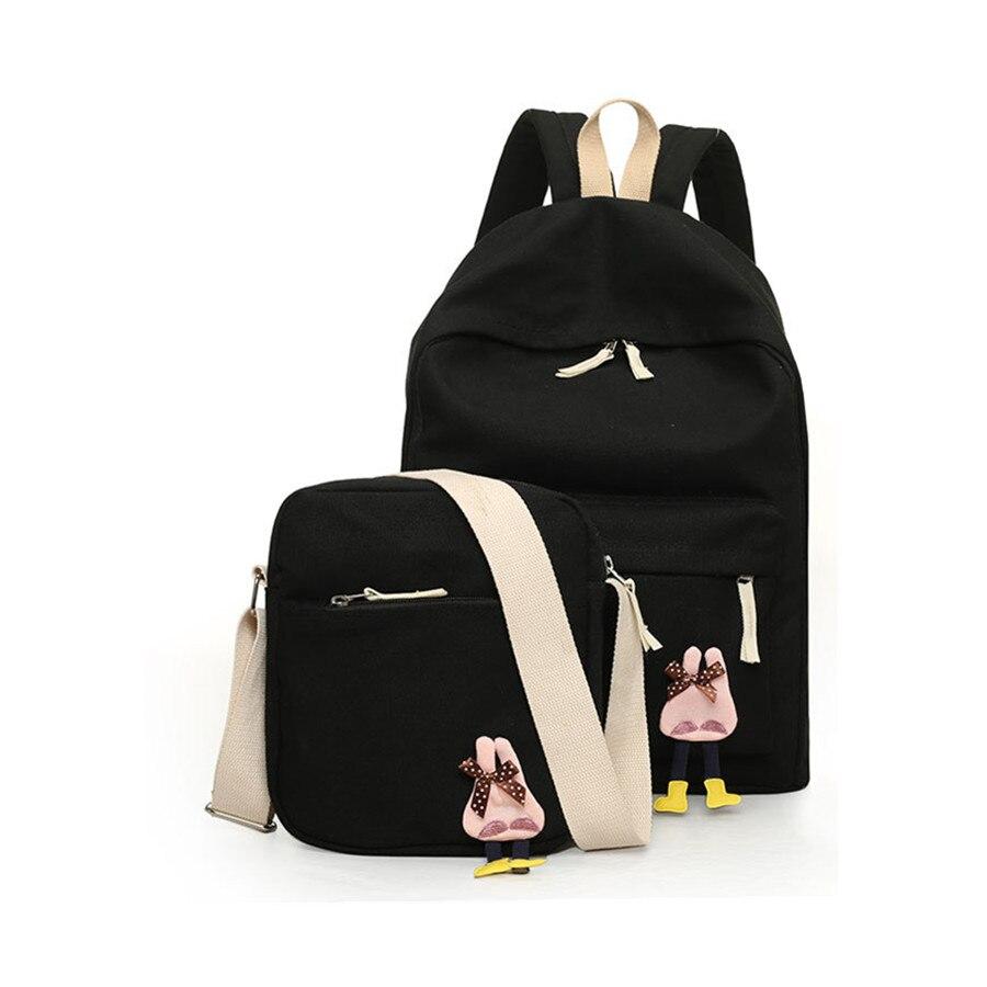 2016 새로운 캐주얼 캔버스 배낭 십대 소녀를위한 귀여운 한국 배낭 배낭 여자를위한 여자 가방 세트 학교 여행 배낭
