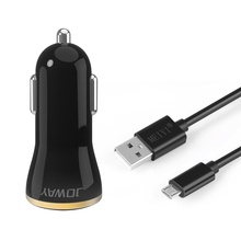 USB Output Car Charger 2.4A max Fast Charge + Micro USB Cable Android Cable 2m 3m USB Cord Wire for Samsung HTC LG
