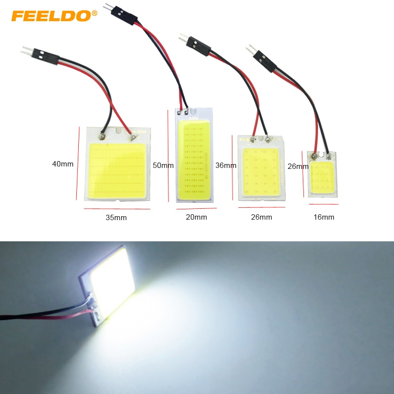FEELDO 1PC White COB Dome Panel 16/24/36/48 LED Light SMD With T10/BA9S/Festoon Adapters Car LED Reading Light #FD-5081