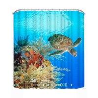 Thấm nước Rèm Phòng Tắm Trang Trí Nội Thất 3D Thế Giới Dưới Nước Rùa Curtain Polyester Tắm Màu 180*180 cm