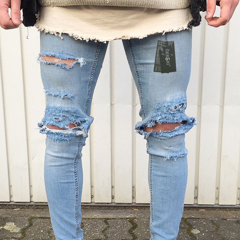 af457274c570 Gersri Jeans Destroyed Frayed Slim Fit Denim Trousers Men s Jeans Ripped  Skinny Slim Jeans Light Blue Hole Jeans Male Fashion-in Jeans from Men s  Clothing ...