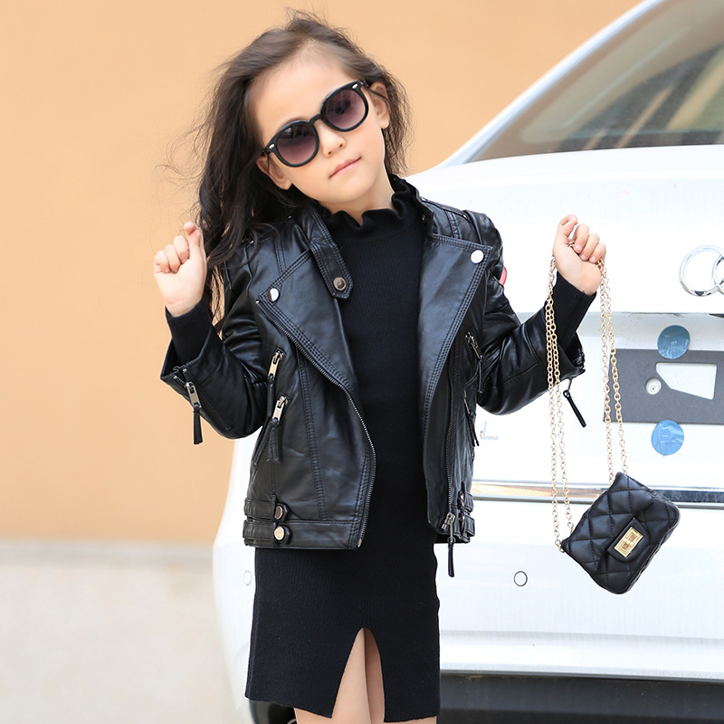 04e88367bbc 2017 Fashion Spring Autumn Baby Girls Leather Jacket Europe Children  Clothes Baby Black Zipper Cardigan Coat Kids Outwear-in Jackets & Coats  from ...