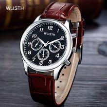 Men's Sports analog steel leather Strap Alloy Case Belt Three Dials Quartz Movement Student Men's Clock Belt Wrist Watch