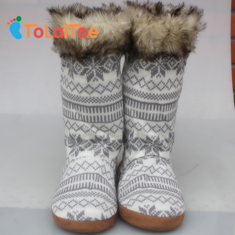 ToLaiToe Artificial fur Long Home Boots Women House shoes Knitting wool Floor Shoes Deerskin Warm Household Home Shoes