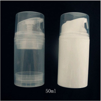 empty 100pcs/lot PP 50ml airless bottle ,white clear color airless pump 50ml lotion vacuum bottle