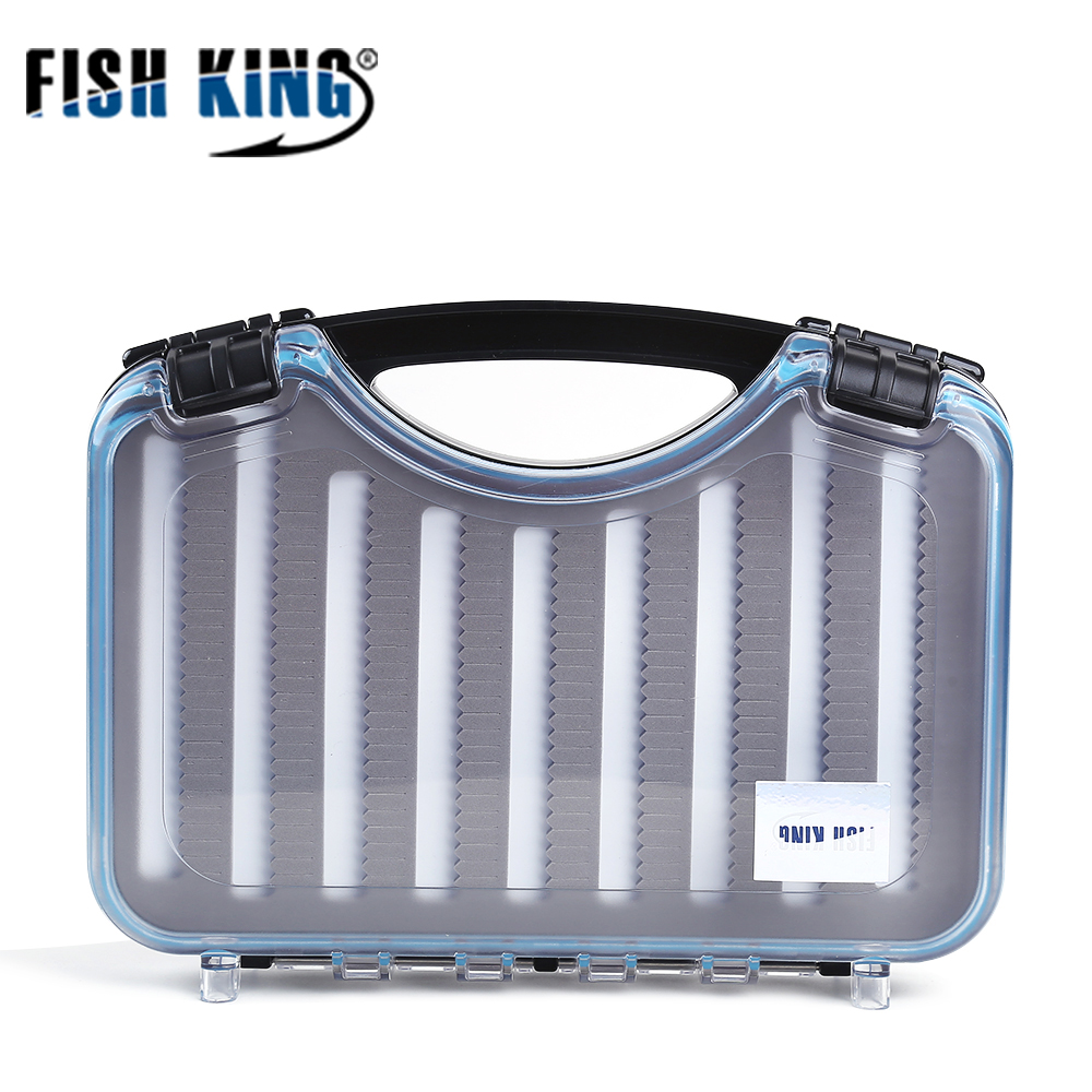FISH KING 1PC Fly Fishing Lure Box High-Capacity Bait Container Hook Set Waterproof Fishing Accessories Storage Case Bait Tools waterproof abs durable plastic foam fly fishing lure bait flies hook storage case cover box fishing lures tackle accessories