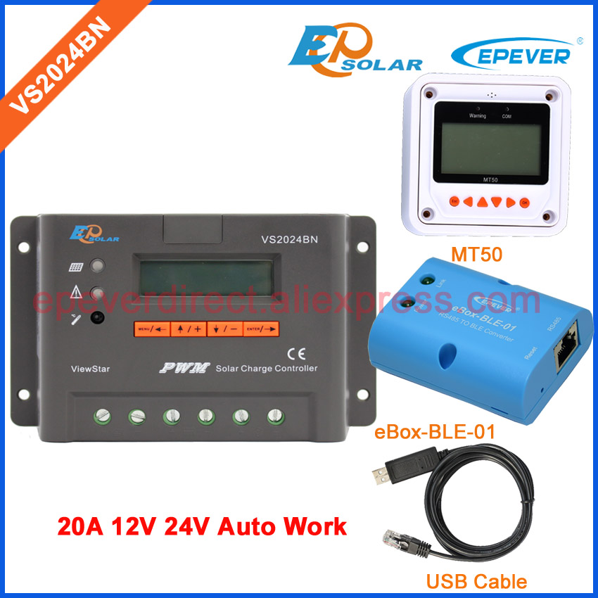 24V PWM 20A Solar power regulator VS2024BN USB cable EPEVER Controller 20amps 12v system BLE BOX and MT50 remote Meter usb cable communication cable connect pc vs2024bn solar battery regulator mt50 remote meter 20a 12v epever brand emc design
