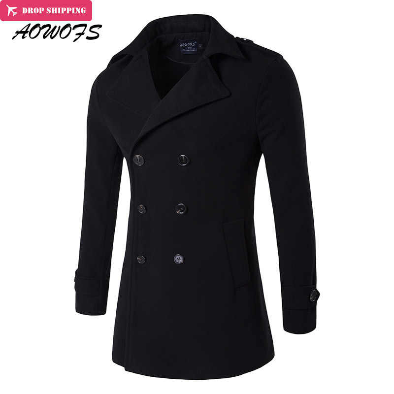 AOWOFS Mens Wool Coats 2017 Winter Men Trench Coats High Quality Double Breasted Wool Blends Pea Coats Men Overcoat Windbreaker