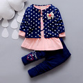 2015 new spring autumn baby girls clothing sets cartoon children coat clothes3 pieces suit girls round dot flower Dress girls