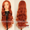 Cheap Gorgeous Long Orange Wave Hair Glueless Synthetic Lace Front Wigs Heat Resistant Wavy Sexsy Cosplay Wig Natural for Women