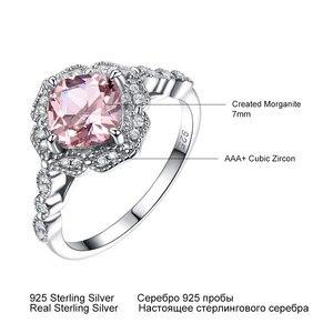 Image 3 - UMCHO, однотонные кольца из стерлингового серебра с искусственным морганитом для женщин, обручальное кольцо, розовый драгоценный камень, подарок на день Святого Валентина