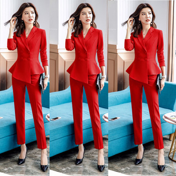 Women suits elegant professional casual dress irregular chic blazers office women's shoes fashionable casual work  pants suits