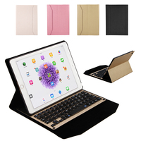 New Ultra Thin Aluminum Bluetooth Wireless Keyboard Leather Protective Case Cover For IPad 9 7 For