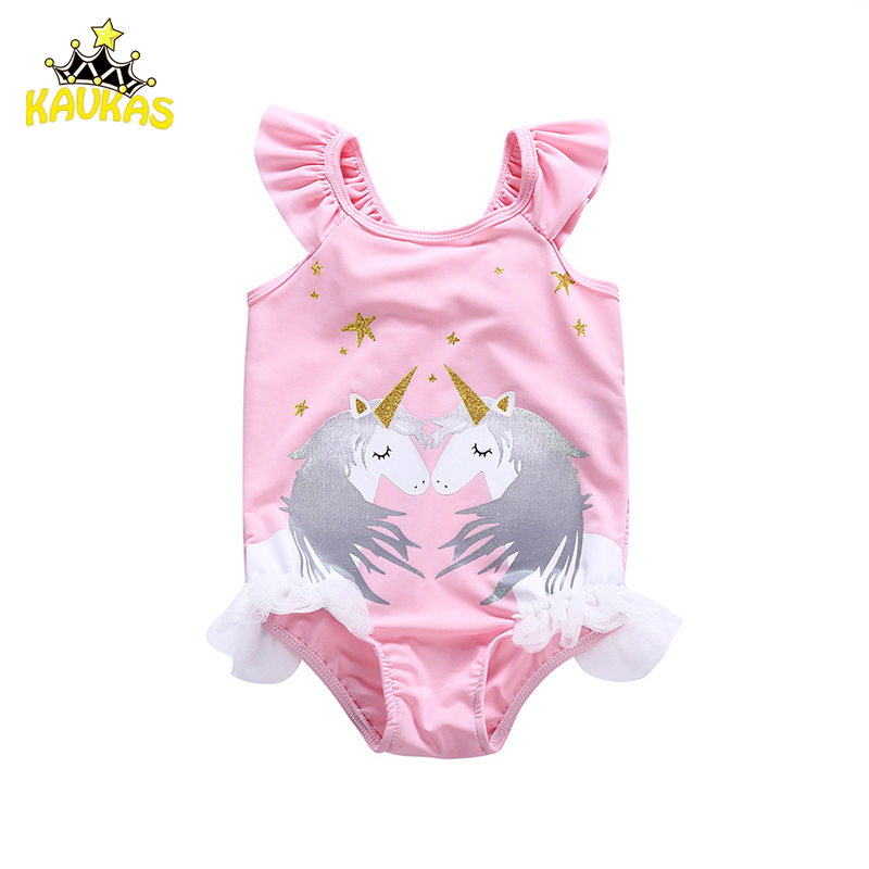 KAVAKS Baby Clothing Baby Girl Cartoon Unicorn Bikini Swimwear Girls Summer One Pieces Swimsuit Bathing Suit Kids Girl Beachwear