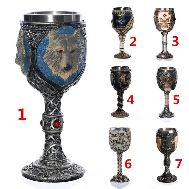 Unique Gothic Goblet 304 Stainless Steel Resin Material Drinkware Barware  For Home Office Halloween Party