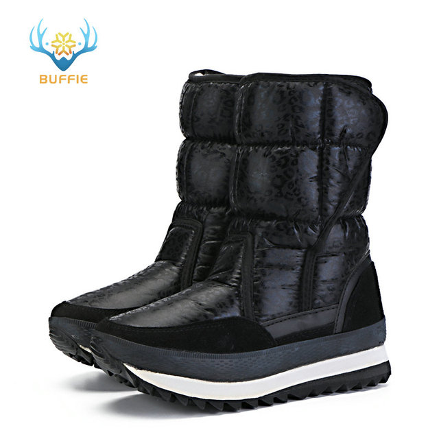 Black leopard snow boots easy put on free match long time use daily wear for office or work walking on road full size set nice