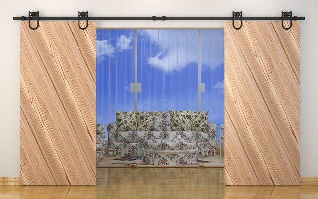 Doppia porta d\'ingresso in ferro battuto hardware & fienile porta ...