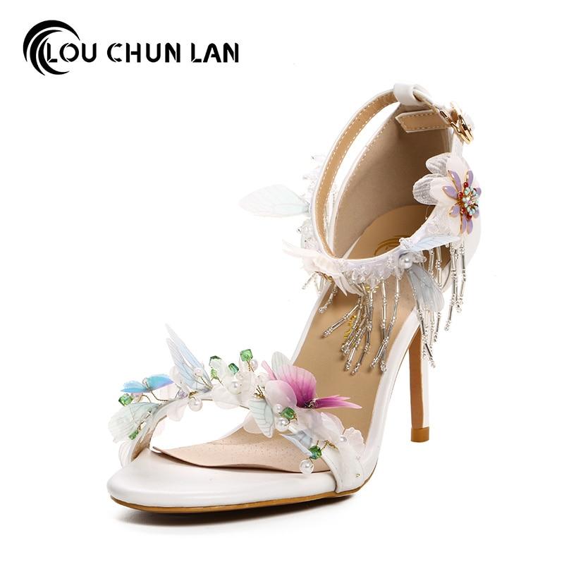 Здесь можно купить   Aesthetic rhinestone tassel butterfly bridal shoes ultra high heels thin heels shoes summer women