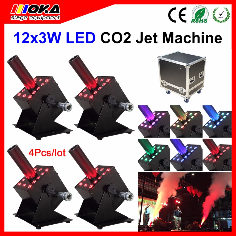 4 Pieces/Lot flight case packing DMX-512 Electric Control Stage Firing Effect CO2 Fog Jet Machine Spray CO2 Jet mochila dj dmx 512 electric control spray 8 10meters height pistola co2 for gun cannon stage effect co2 jet smoke machine