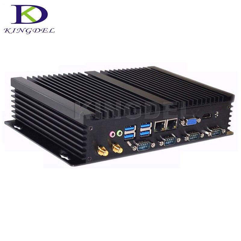 DC 12V Fanless X86 Mini PC Win 7/ Win 8 / Win 10 / Linux, Mini Industrial Computer With Celeron 1037u Processor Dual LAN 4 RS232