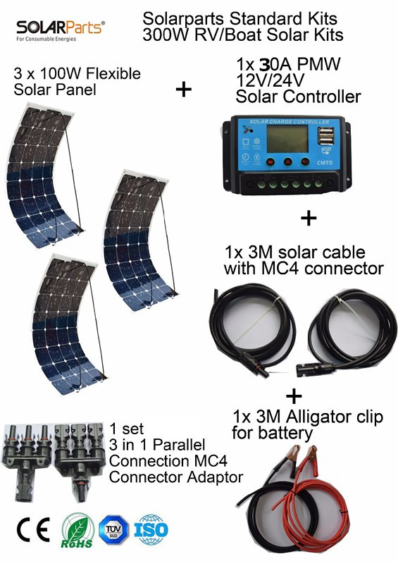 BOGUANG Standard Kits 300W DIY RV/Boat Kits Solar System 100W flexible solar panel+controller+cable outdoor light led module. 2pcs 4pcs mono 20v 100w flexible solar panel modules for fishing boat car rv 12v battery solar charger 36 solar cells 100w