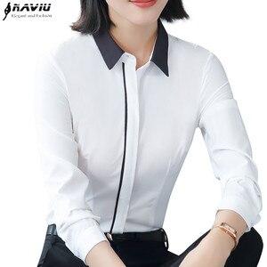 Image 1 - 春の新白シャツ女性ファッションフォーマルビジネスパッチワーク長袖スリムシフォンブラウスオフィス女性のプラスサイズは