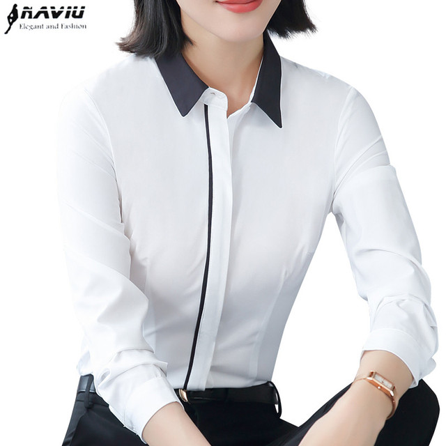 Spring New White Shirt Women Fashion Formal Business Patchwork Long Sleeve Slim Chiffon Blouses Office Ladies Plus Size Tops