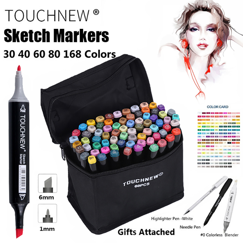 TOUCHNEW Marker 30/40/60/80 Colo Artist Painting Manga Marker Set Best For Manga Dual Headed Sketch Alcohol Based Brush Marker w110148 30 40 colors artist double headed manga brush markers alcohol sketch marker marker for design and artists