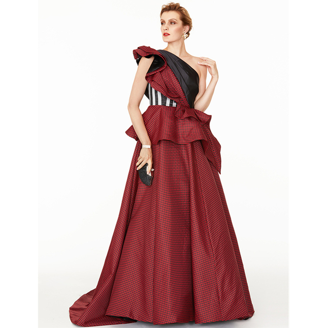 TS Couture A-Line Princess One Shoulder Court Train Satin Taffeta Formal  Evening Dress with Side Draping Pleats Color Block a1e0a56c8fd9