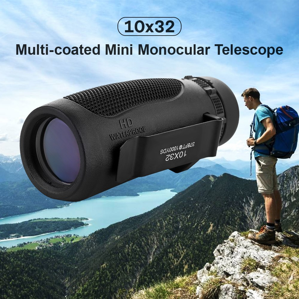 New Arrival 10X32 Monocular Telescope Monocular Scope Telescope For Bird Watching Hiking Hunting Camping Concert Dropshipping in Monocular Binoculars from Sports Entertainment